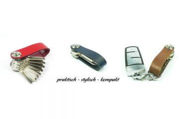 Keylino - Platzsparender Schlüsselbund mit Lederriemen
